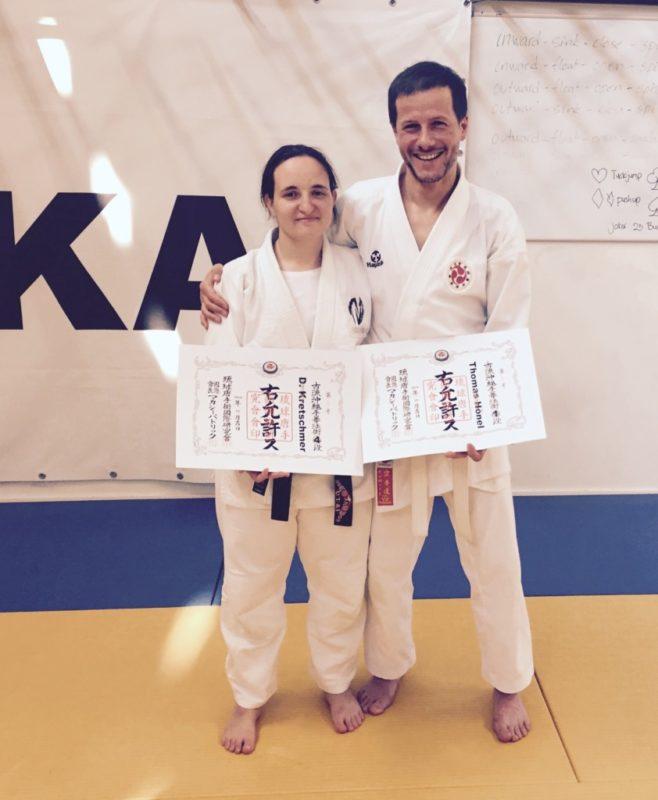 Thomas Hönel und Dinah Kretschmer nach den Dan-Prüfungen im niederländischen Veldhoven